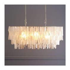 West Elm Large Rectangle Hanging Capiz Chandelier - White (1,165 PEN) ❤ liked on Polyvore featuring home, lighting, ceiling lights, white lights, west elm lamps, capiz shell lamp, shimmer lights and rectangular lamps