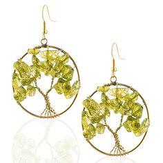 Handmade Brass Dyed Green Glass Beads Tree of Life Dangle Earrings