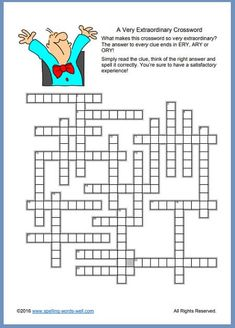 """Find out why we've titled this crossword """"Extraordinary."""" It's just one in our set of crossword puzzles printable, fun and free! Spelling Games For Kids, Spelling Practice, Word Games, 7th Grade Spelling Words, Printable Crossword Puzzles, Challenging Puzzles, Rhyming Words, Puzzles For Kids, English Words"""
