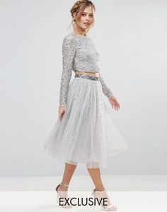 Maya Long Sleeved Crop Top in Delicate Sequin with Scalloped Back + Maya Tulle Midi Skirt With Delicate Sequin