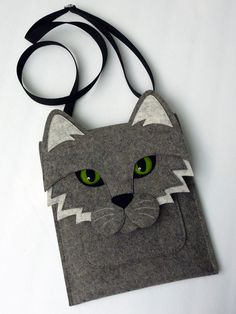 Cat MacBook Pro 13 inch sleeve - Gray felt - MADE TO ORDER