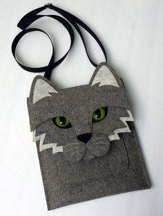 Cat MacBook Pro 13 inch sleeve - Gray felt - MADE TO ORDER
