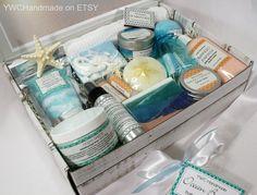 18-Piece Spa Gift Set Ocean Breeze Deluxe Beach Box | Etsy Unrefined Shea Butter, Shea Butter Soap, Clear Glycerin Soap, Bath And Body, Body Spa, Pink Sea Salt, Soap Base, Spa Gifts