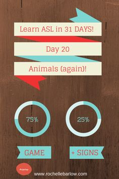 Day 20 you'll learn a fun animal sign game and also a few more animal signs. You can never know too many animal signs! Info Board, Learn To Sign, Learn Sign Language, Asl Signs, Deaf Culture, American Sign Language, Teaching, Learning Asl, Have Time