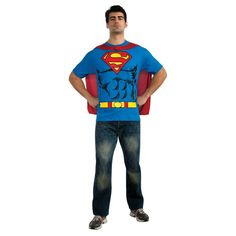 Men's Superman TShirt Costume X-Large, Size: XL, Blue