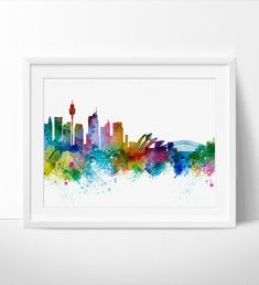 Sydney Skyline, Sydney Wall Art, Sydney Poster, Cityscape Art Print, City Wall Art, Cities Skylines, Watercolor, Australia Art Print (263)