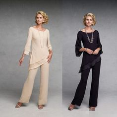 Casual Mother Of The Bride Pants Suit 2016 Jewel Neck 3/4 Long Sleeves Two Pieces Chiffon Mothers…