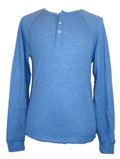 lucky brand long sleeve cotton blues solid thermal shirt lucky brand mens shirt henley long sleeve raglan cotton knit blue sz s