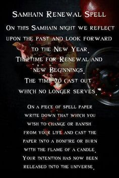 The Wheel of the Year   Samhain - Spellwork - Renewal Spell