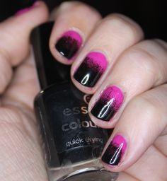 The Sleepy Jellyfish: Nail Art #2 - Pink and Black Gradient Nails  http://thesleepyjellyfish.blogspot.ie/2013/01/nail-art-2-pink-and-black-gradient-nails.html