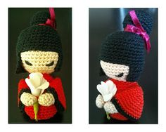 Kokeshi Amigurumi ~ Patrón Gratis en Español para descargar en PDF aquí: http://amigurumies.blogspot.com.es/2013/01/kokeshi.html