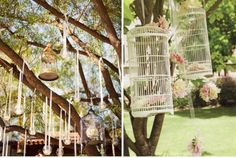 love the hanging bird cage by ribbon and luminaria's  I would like this for an outdoor party someday