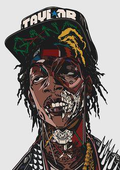 Wiz print – Designers Go to Heaven Arte Hip Hop, Hip Hop Art, Arte Dope, Dope Art, Dope Kunst, Trill Art, Dope Cartoons, Rapper Art, Dope Wallpapers
