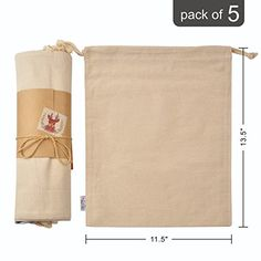Organic Cotton Muslin Produce Storage Bag with Drawstring 5 Bulk; Large Inch Canvas Cloth Best for Vegetables, Bread or Laundry, Reusable Mesh for Grocery Shopping and Household Organizing Produce Storage, Produce Bags, Bag Storage, Storage Ideas, Gift Bag Organization, Household Organization, Organizing, Best Reusable Grocery Bags, Cotton Bag