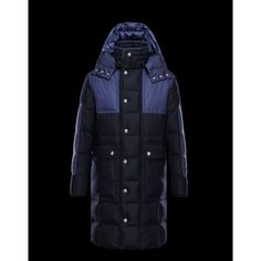 2015 Ny Svart And Blå Herr Moncler Long Jacka