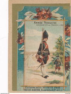 Chromo Chicorée Extra Au Petit Page PRUVOT BARTIER à HENIN LIETARD ( Armée Française Grenadier De France 1750 ) - Thé & Café