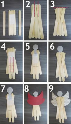 Angels made very easy! M de Maria Ateliê: Outubro 2012 www. - Angels made very easy! M de Maria Ateliê: Outubro 2012 www. Popsicle Stick Christmas Crafts, Popsicle Crafts, Christmas Ornament Crafts, Christmas Crafts For Kids, Craft Stick Crafts, Homemade Christmas, Christmas Angels, Christmas Projects, Simple Christmas