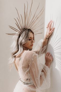 Then this roundup may be helpful: we've gathered the hottest trends for wedding dresses (and not only dresses) that will be on Sparkly Wedding Gowns, Sparkly Gown, Wedding Dress Trends, Boho Wedding, Celestial Wedding, Creative Portraits, Bridal Headpieces, Marie, Portrait Photography