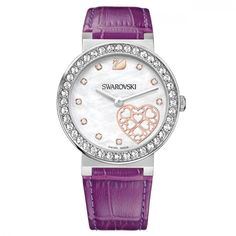 Women's Swarovski Watch Citra Sphere Hearts 1185833 Mother of Pearl - Crivelli Shopping Casual Watches, Cool Watches, Watches For Men, Swarovski Outlet, Swarovski Watches, 185, Online Watch Store, Purple Leather, Watch Sale