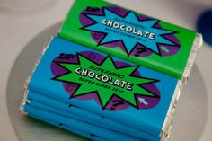 Superhero Chocolate Bar Wrappers / by JoStudioPartyPaperie on Etsy /  KAPOW Printable Party Collection for a Superhero / Villan themed Party / Purple Green and Blue / Superhero Birthday Party / Kids Parties / Stationery / Jo Studio for a Superhero Party / Styling by Lola and Co Party Styling