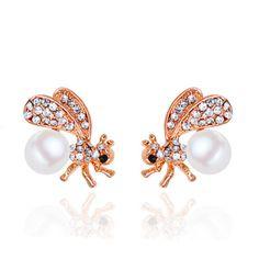 de44b417a Nine Flower Brand Pearl Cute Bee Stud Earrings Women Luxury Rhinestone  Lovely Bee Earring Jewelry Mujer