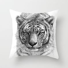 Tiger SK0102 Throw Pillow by S-Schukina - $20.00