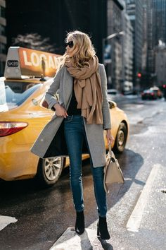 NYFW Fall/Winter 2017, Street Style, Grey Coat, Tan Blanket Scarf, Denim Skinny Jeans, Celine Tie Handbag, Black Ankle Booties... - Street Style