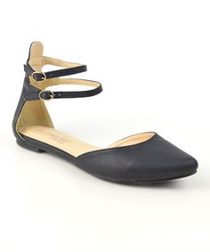 Black Dembe Ankle-Strap Flat // Zulily