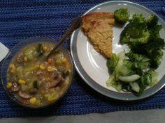 TQI Dinner: Chicken Brunswick (recipe modified for TQI rules), steamed broccoli, sauteed baby bok choy, and farinata (fermented chickpea flatbread)