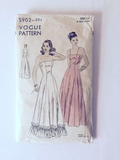 #Vintage #Vogue 5902 #Sewing Pattern Slip Evening Gown Womens Size 14 New Uncut FF