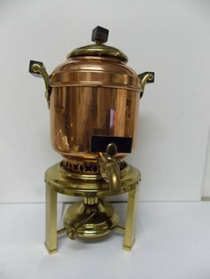 Vintage Copper & Brass METEOR Percolator BY Manning Bowman  MERIDEN, CONN. 1906