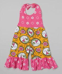 Look at this #zulilyfind! Orange Nouveau Flower Ruffle Halter Romper - Girls #zulilyfinds