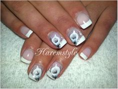 french and calla nail art