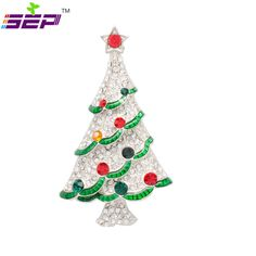 White Christmas Tree Brooches Rhinestone Crystals Broach Pins for Women Jewelry Accessories LSYP0602