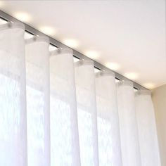 Deco track anodized aluminum ripplefold curtain track sets with a rounded front for a decorative flair. Simple baton draw sets with wheeled ripplefold carriers. Ceiling Curtain Track, Ceiling Curtains, Ikea Curtains, Home Curtains, Curtains With Blinds, Sheer Curtains, Drapery, Cortina Wave, Rail Plafond