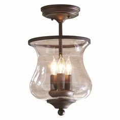 allen + roth 3 Light Hurricane Semi-Flush Mount - Lowes