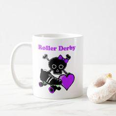 Roller Derby Heart (Purple) Coffee Mug - vintage heart gifts love hearts custom