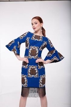 African Print Sarah Fringe Dress
