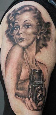 Realism Pin Up Tattoo by Matt Oddboy - http://worldtattoosgallery.com/realism-pin-up-tattoo-by-matt-oddboy/