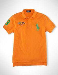 Polokey Classic-Fit Big Pony Flag Polo Orange 2013PRL19 Cheap Ralph Lauren  Polo, Ralph 40b8612cc29e