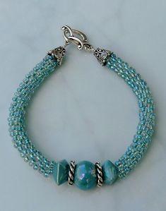 Kumihimo beaded bracelet Seafoam by ChatterboxBeadDesign on Etsy, $30.00
