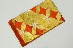 Japanese SILK FUKURO OBI Orange Base Color ni Gold Rin Ka