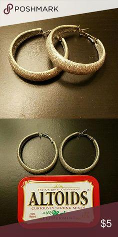 Silver Glitter Hoop Earrings Silver hoop glitter earrings. No flaws. Jewelry Earrings