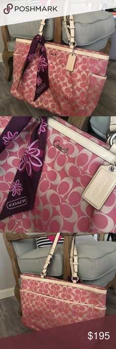 Coach shoulder bag PinkCoach shoulder bag. Spacious inside with compartments for wallet, phone, keys and more. Leather handles with silver hardware. Adjustable. Comes with the silk tie that can be taken off and on and worn anyway. This purse has been well taken care of. Very slight marks on bottom as shown in above picture. Beautiful purse  Coach Bags Shoulder Bags