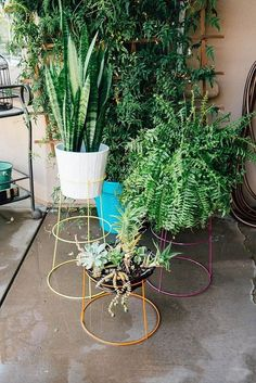 Simple Plant Stand DIY that saves you money! Need plant stands but don't have a lot of money to spend? Learn how to easily upcycle inexpensive tomato cages into DIY modern plant stands that look great both inside and outside your home! Modern Planters, Wood Planters, Hanging Planters, Basket Planters, Succulent Planters, Flower Planters, Garden Planters, Succulents Garden, Flower Pots