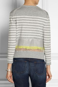 Sacai|Sacai Luck organza and lace-trimmed cotton sweater|NET-A-PORTER.COM