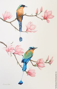 Birds and flowers. Pic.1. Traditional art ( watercolor). Prof. paper: Canson. Svetlana Markina (LechuzaS). Size: 24cm*42cm