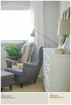 A romantic farmhouse retreat is painted a soothing neutral grey (Balboa Mist by Benjamin Moore), for a soft and feminine look. A Burst of Beautiful shares the perfect Modern Farmhouse Neutral Paint Colors for a cozy and inviting home | A Burst of Beautiful