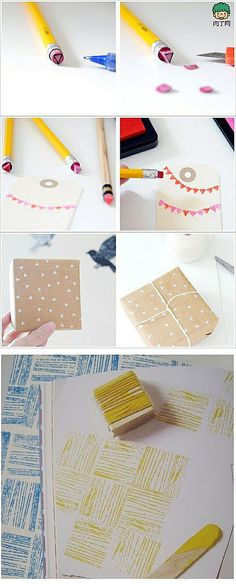Stamp painting with simple objects. Kids will love this.