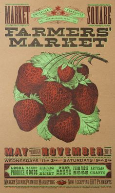 Farmers market strawberry poster